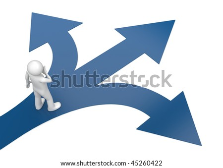 2010 new choose your way 2 (3d isolated characters, business series) - stock photo