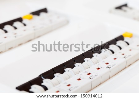 New electrical  control panel  at new house - stock photo