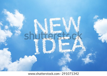 """new idea"" cloud word on sky. - stock photo"