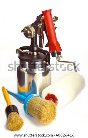 New metal brilliant Spray gun And brush - stock photo