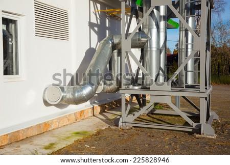 New pipeline on ceiling In boiler Center - stock photo