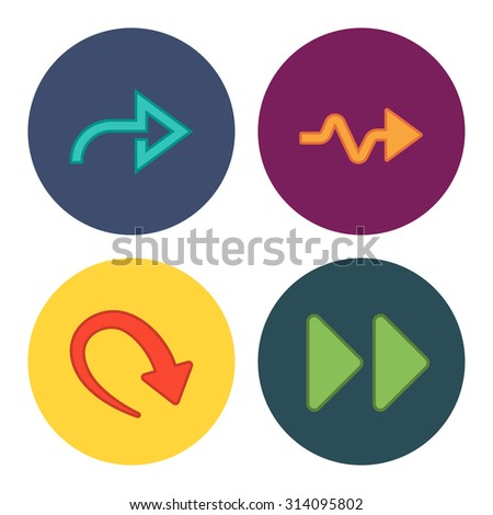 4 new simple arrows - stock photo