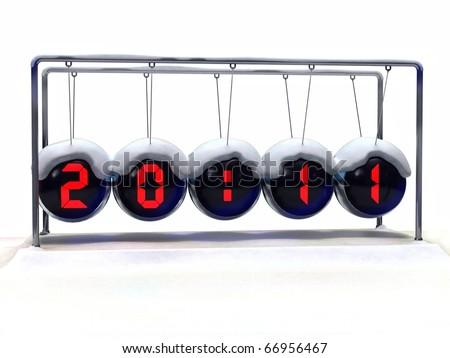 2011 New Year Alarm-clock  Newton's cradle - stock photo