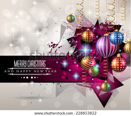 2015 New Year and Happy Christmas background for your flyers. Includes a lot of festive themed elements: balls, stars, golden words and shapes. - stock photo