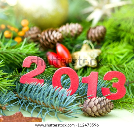2013 New Year - At midnight, with best wishes - stock photo