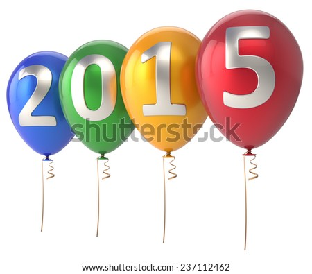 2015 New Year balloons party decoration. Winter celebration helium balloon colorful. Future beginning calendar date greeting card congratulation banner. 3d render isolated on white background - stock photo