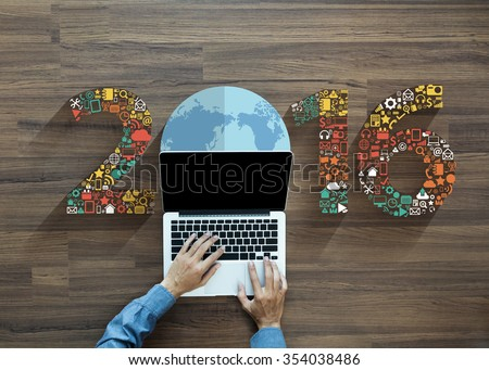2016 new year business innovation technology set application icons, With businessman working on laptop computer PC, view from above - stock photo