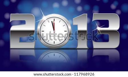 2013 New Year Card - shining metal digits with clocks instead of number zero- raster version - stock photo