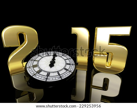 2015 New Year Clock - New Year clock lying on its side only a minute away from midnight.  Happy New Year.  - stock photo
