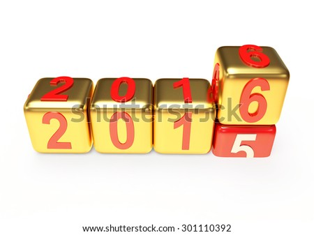 2016 New Year concept. Golden cubes 2015 changing for 2016 isolated on white background - stock photo