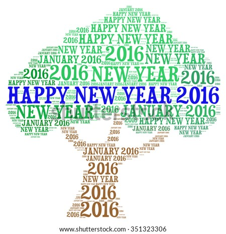 2016 new year concepts tree shape with colourful word cloud.