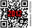 2012 New Year counter, QR code . - stock photo