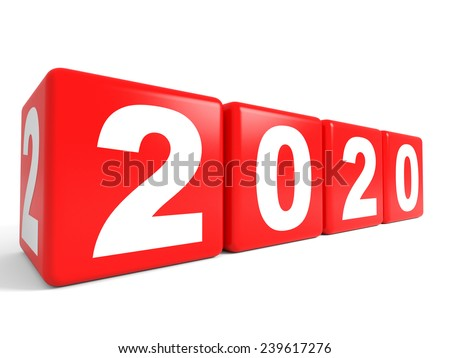 2020 New Year cubes. 3D illustration.