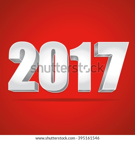 2017 New Year 3d silver numbers on a red background. - stock photo