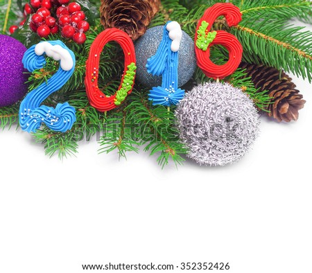 2016 New Year decoration with christmas ornament on white background. - stock photo