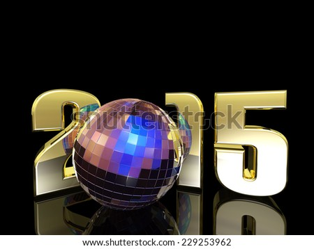 2015 New Year Disco Ball - A New Year's Disco Ball with reflections. Happy New Year. - stock photo