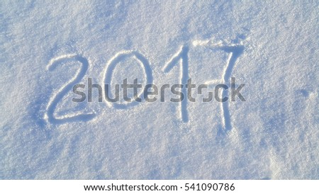 2017 (New Year) drawing on the white snow