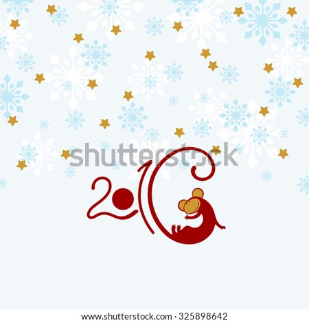 2016 New Year greeting card with it's symbol - red fire Monkey (raster version) - stock photo