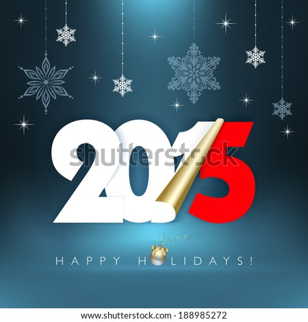 2015 new year. Happy holidays background with snowflakes. - stock photo