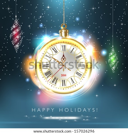 2014 new year. Happy Holidays. Stylish design. Beautiful, vintage clock shows 10 minutes to midnight time. Christmas card. Time to celebrate. - stock photo