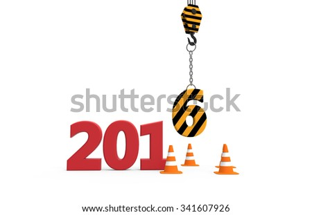 2016 new year in progress isolated on a white background