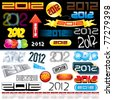 2012 New year labels, icons, tags, logos and stamps - set of various conceptual design elements - stock photo