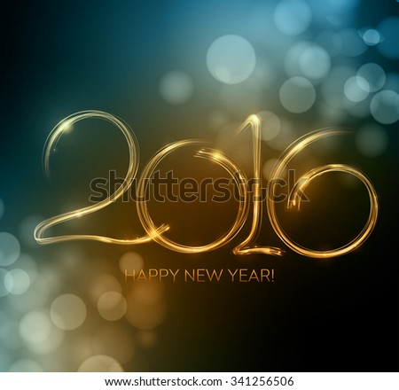 2016 New Year made a sparkler. illustration - stock photo