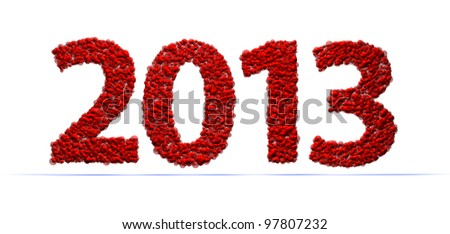 2013 new year modeled with tridimensional red bubbles - stock photo