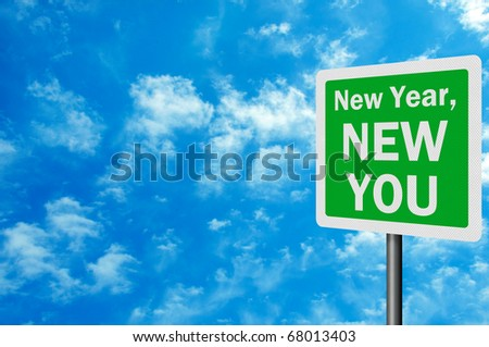 'New Year, New You' photo realistic sign with space for your text - stock photo