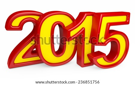 2015 new year on a white background. 3d rendered image  - stock photo