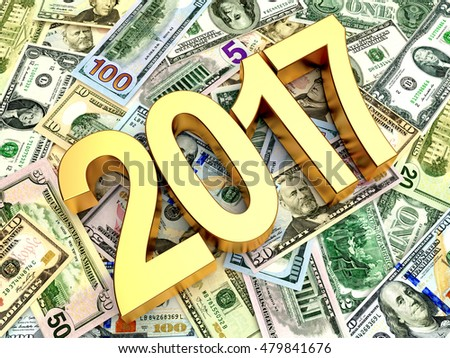 2017 New Year on heap of dollar bills. Business and financial concept. 3D illustration
