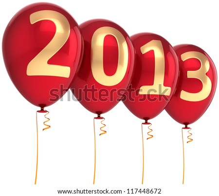 2013 New Year party balloon holiday decoration. Red helium balloons with gold numbers. Future calendar date. Detailed 3d render. Isolated on white background. - stock photo