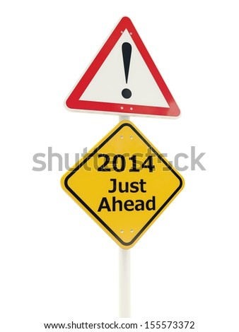 2014 New Year road sign isolated on white