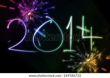 2014 New year's eve firework celebration - stock photo