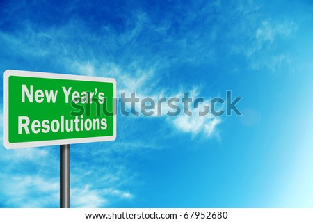 'New Year's Resolutions' photo realistic sig with space for your text - stock photo