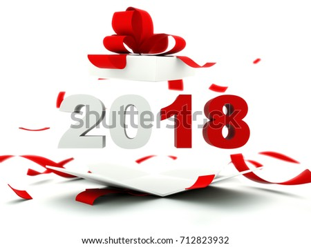 2018 New Year sign inside the present isolated on white. 3D illustration
