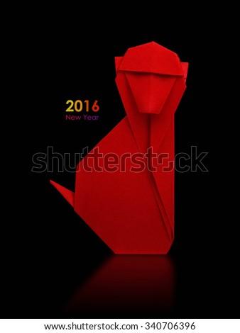 2016 new year simbol origami red monkey on a black background - stock photo