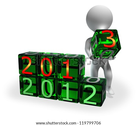 2013 new year text is being built by abstract character moving bright green cubes with digits - stock photo