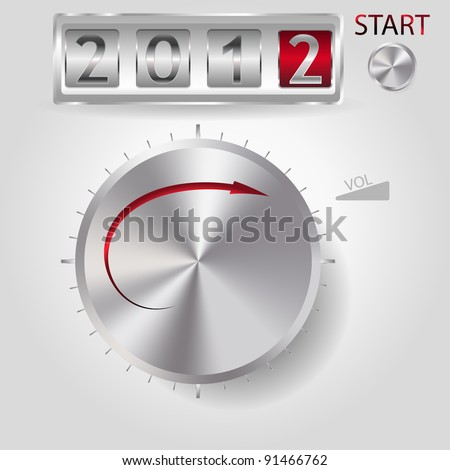 2012 new year volume control, rasterized illustration - stock photo