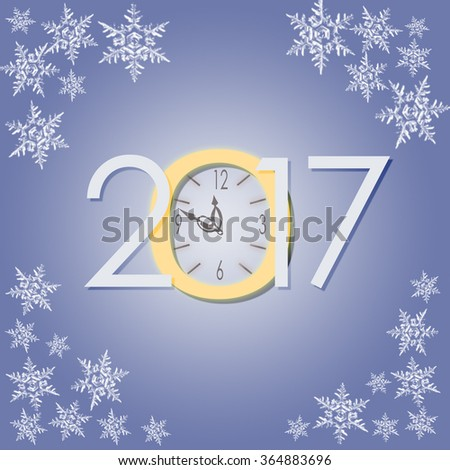 2017 New Year with clock  and snowflakes creative illustration on frozen background with snowflakes