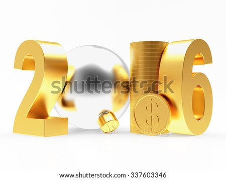 2016 New Year with silver christmas ball and golden coins isolated on white background