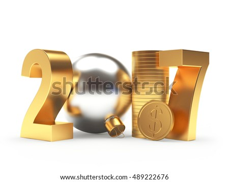 2017 New Year with silver christmas ball and golden coins isolated on white background. 3D illustration