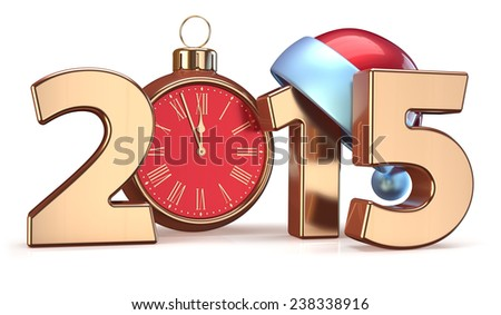 2015 New Years Eve alarm clock Christmas ball decoration Santa hat Merry Xmas wintertime stylized countdown date. 3d render isolated on white background - stock photo