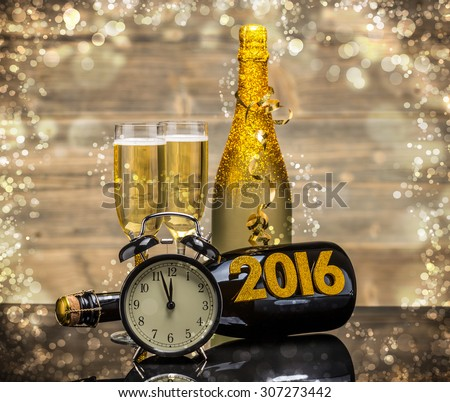 2016 New Years Eve celebration background - stock photo