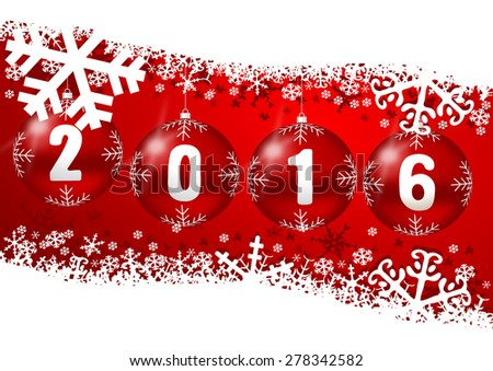 2016 new years illustration with christmas balls  - stock photo