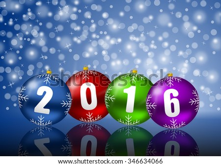 2016 new years illustration with christmas balls and snowflakes  - stock photo