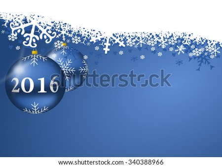 2016 new years illustration with christmas balls and snowflakes on blue background  - stock photo