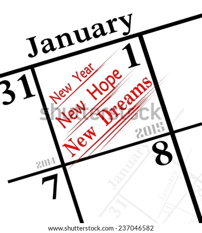 2015 new years resolution of making new dreams - stock photo