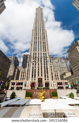 ?NEW YORK - AUGUST 23: Exterior views of to the Rockefeller center in Midtown Manhattan at the 5th Av on August 23, 2015. Rockefeller Center is a complex of 19 commercial buildings covering 22 acres. - stock photo