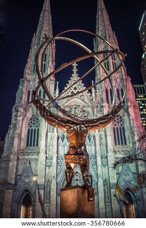 NEW YORK CITY - November 18: Atlas statue at Rockefeller Center November 18, 2015 in New York, NY. The statue was built by Lee Lawrie in 1937 and is the largest statue at the Rockefeller complex. - stock photo